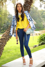 Yellow-525-america-sweater-blue-bebe-blazer-sky-blue-rebecca-minkoff-bag