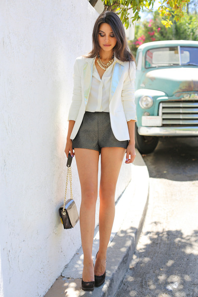 ivory Maje blazer - ivory H &amp; M shirt - green H &amp; M shorts