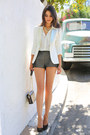 Ivory-maje-blazer-ivory-h-m-shirt-green-h-m-shorts