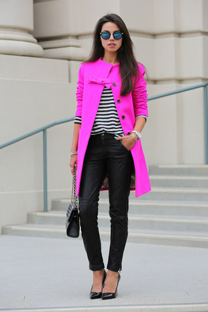 hot pink J Crew coat - black Rebecca Minkoff bag - white free people top