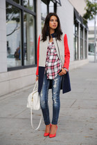 navy J Crew coat - white Rails shirt - red Miu Miu heels