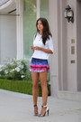White-zara-sweater-blue-lovers-friends-shorts-white-lamb-heels