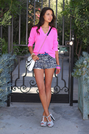 white Rebecca Minkoff bag - hot pink J Crew sweater - white J Crew shorts