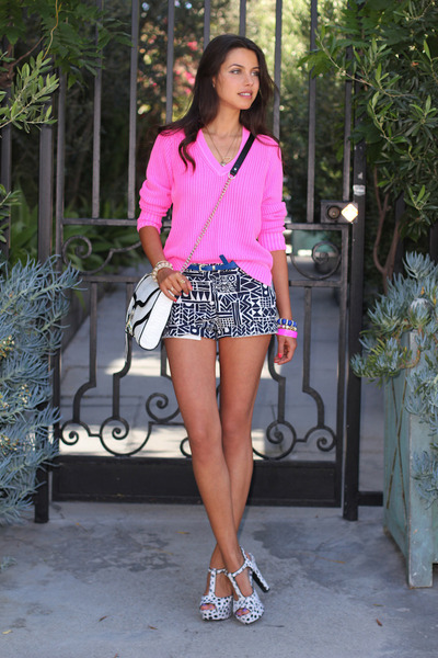 white Rebecca Minkoff bag - hot pink J Crew sweater - white J Crew shorts