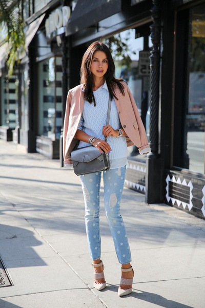 periwinkle Gap jeans - light blue Gap sweater - light pink Gap blazer