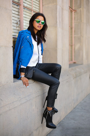 blue Club Monaco jacket - black Saint Laurent boots - green Illesteva sunglasses