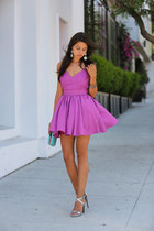 magenta Keepsake The Label dress - aquamarine dvf bag - silver Barbara Bui heels