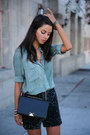 Black-armani-bag-teal-all-saints-skirt-turquoise-blue-ready-to-fish-blouse