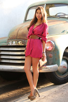 brown Forever 21 belt - maroon InLoveWithFashioncom dress - brown Cleobella bag