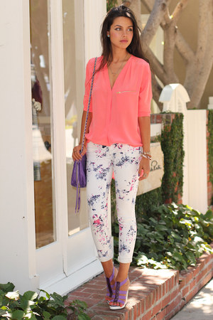 coral SANDRO blouse - white MINUSEY jeans - amethyst Rebecca Minkoff bag
