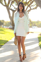 light blue Equipment blouse - ivory Shopakiracom dress - gold Anthropologie bag