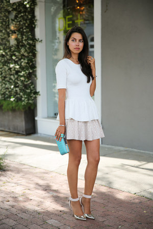 aquamarine dvf bag - tan Torn by Ronny Kobo skirt - white Torn by Ronny Kobo top