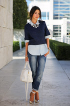 navy Gap jeans - white Saint Laurent bag - periwinkle Gap blouse
