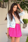 Light-blue-zara-jacket-hot-pink-stylebymarinacom-dress