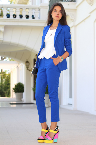 blue Aqua suit - yellow Giuseppe Zanotti wedges - white River Island blouse