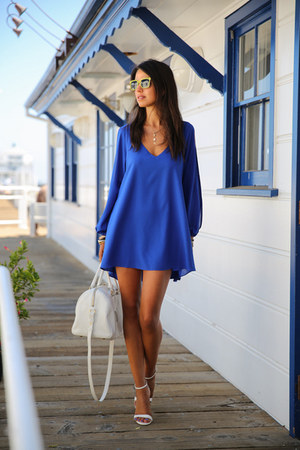 white YSL bag - blue Lovers  Friends dress - yellow BonLook sunglasses