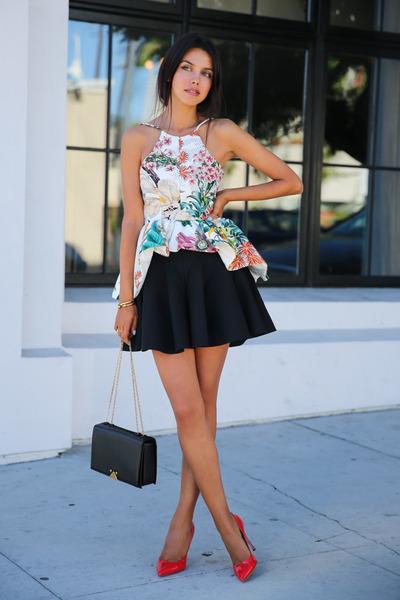 black cameo skirt - black armani bag - red Miu Miu heels - ivory cameo top