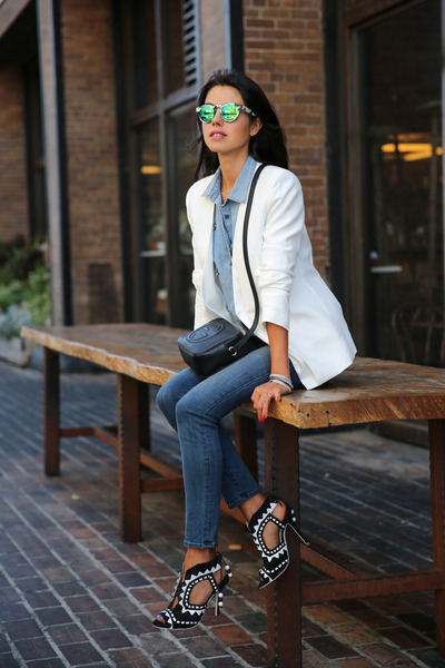 black Gucci bag - blue J Brand jeans - white cameo blazer