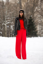red J Crew sweater - black IRO jacket - black Chanel bag - red Reiss pants