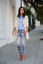 beige ann taylor coat - white MOTHER Denim jeans - sky blue ann taylor shirt