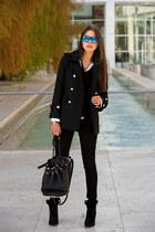 black Zara coat - black James Jeans jeans - black Alexander Wang bag