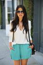 Black-proenza-schouler-bag-white-bcbg-blazer-teal-stylemint-shorts