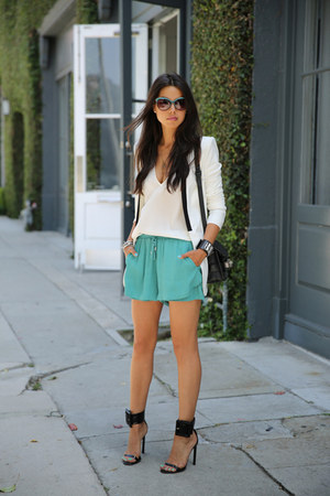 black PROENZA SCHOULER bag - white BCBG blazer - teal StyleMint shorts