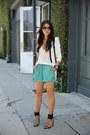 White-bcbg-blazer-black-proenza-schouler-bag-teal-stylemint-shorts