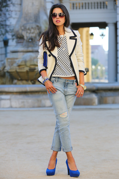 white J Crew coat - periwinkle free people jeans - blue Pink & Pepper heels