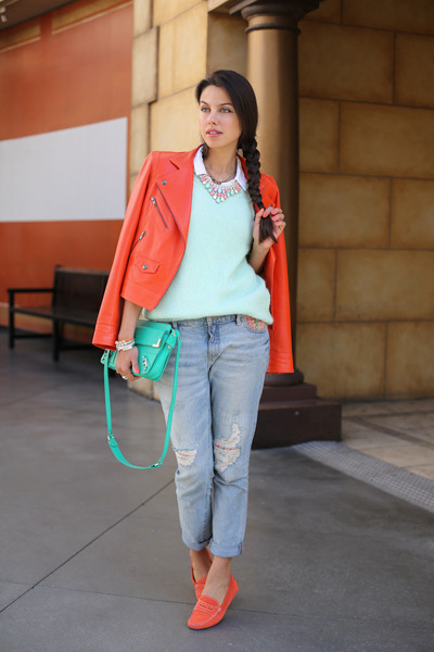 carrot orange truth and pride jacket - light blue free people jeans
