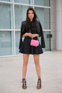 Black-isa-tapia-boots-black-robert-rodriguez-jacket-hot-pink-bebe-bag