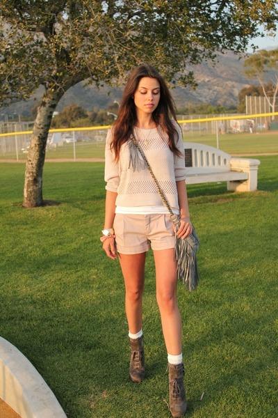 metalic suede Nanette Lepore bag - suede sam edelman boots - cotton H&M sweater
