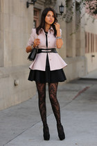 light pink ted baker coat - black HUE tights - black cameo skirt