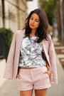 Light-pink-joie-blazer-light-pink-joie-shorts-silver-schutz-heels