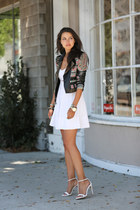 white Club Monaco dress - black BCBG jacket - black PROENZA SCHOULER bag