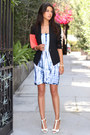 White-lamade-dress-black-helmut-lang-blazer-coral-ann-taylor-bag