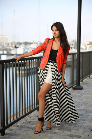 black Finders Keepers skirt - carrot orange Truth & Pride jacket