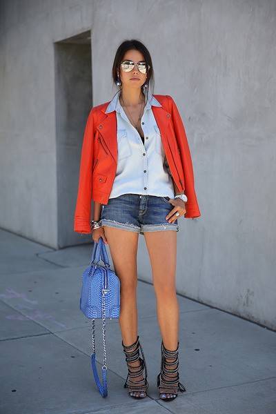 carrot orange Truth & Pride jacket - periwinkle Alice  Olivia bag