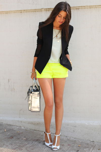 Black Helmut Lang Blazers Yellow JCrew Shorts White Zara Heels | U0026quot;Neon Touchu0026quot; By ...