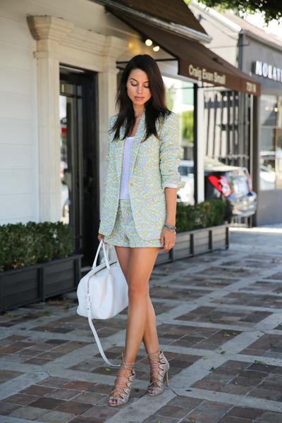 periwinkle Zadig et Voltaire suit - white Saint Laurent bag - camel Schutz heels