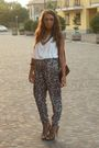 White-h-m-top-brown-h-m-pants-beige-zara-shoes-brown-h-m-bracelet-silver