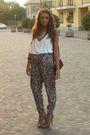 White-h-m-top-brown-h-m-pants-beige-zara-shoes-brown-h-m-bracelet-silver