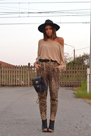 black Bershka hat - black chanel vintage bag - brown River Island pants