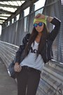Black-h-m-boots-yellow-h-m-hat-black-biker-jacket-romwe-jacket