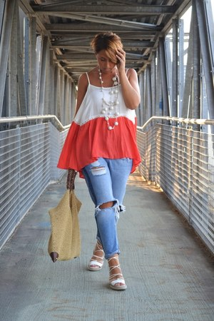 hot pink Sheinside blouse - periwinkle Mango jeans