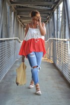 hot pink Sheinside blouse - periwinkle Mango jeans