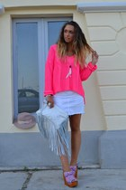 white Zara bag - neutral Topshop hat - hot pink H&M sweater