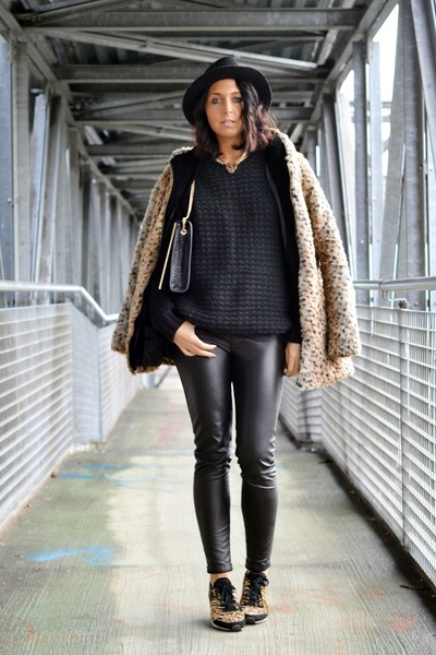 bronze leopard coat Sheinside coat - black Bershka man sweater