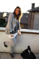 Zara pants - Zara blazer - Zara t-shirt - Zara boots - H&M accessories - no-bran