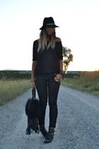 black River Island boots - black Zara hat - black REPLAY bag - black H&M pants